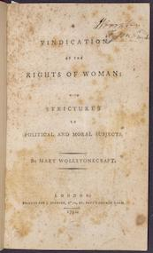 "Cover of Mary Wollstonecraft's ""Vindication of the Rights of Woman"""