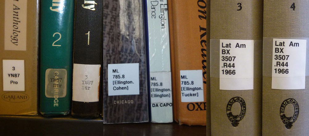Book spines with classmarks